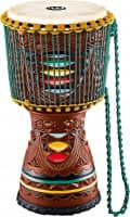 """12"""" Artisan Edition Tongo Carved Djembe, Coloured Carving"""