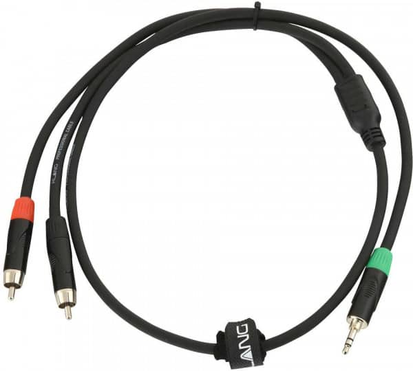 Y-Audiokabel, 1 Meter 3,5 mm Klinke, male, stereo - 2x Cinch, male