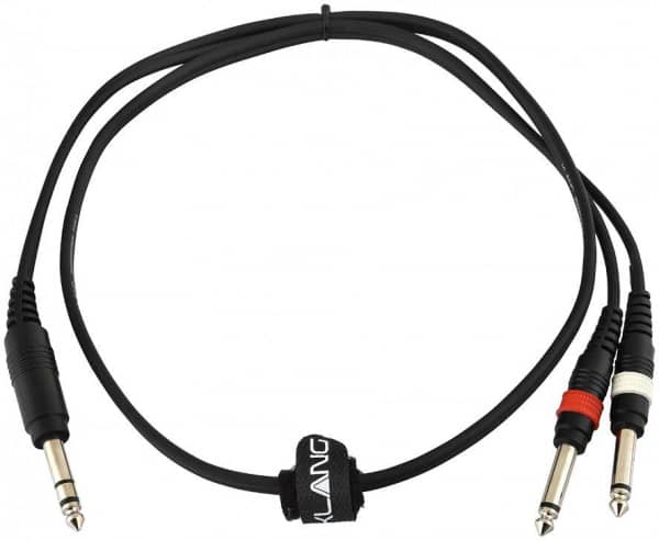 Adapterkabel ECO, 1 Meter 6,3mm Klinke, male, stereo - 2x 6,3mm Klinke, male, mono
